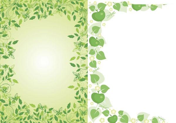 2款绿色花边框矢量图免费素材下载