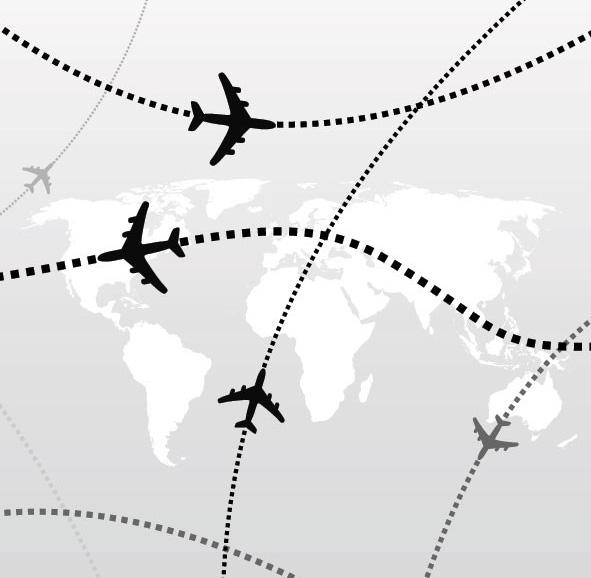 航空飞机飞行路线素材矢量图