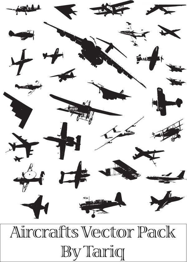 多款战斗机剪影素材矢量图
