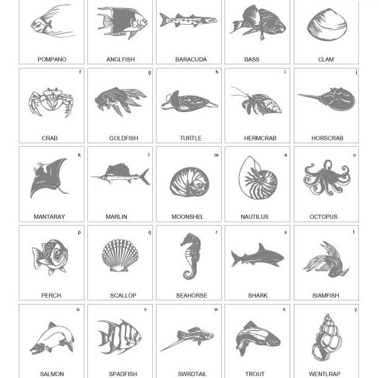 黑白颜色的海洋生物素材矢量图免费素材下载