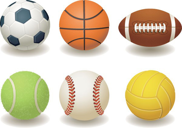 足球,篮球,橄榄球,网球,棒球,排球素材矢量图