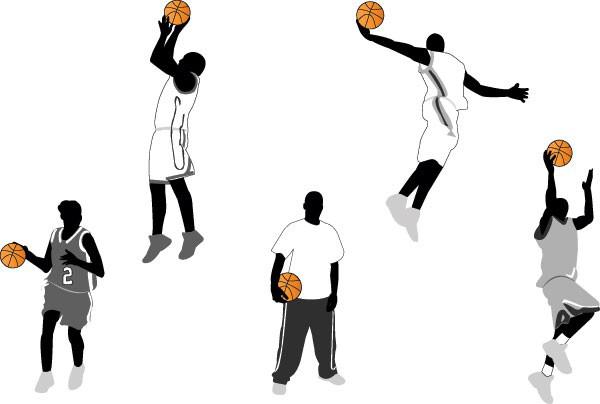 人物打篮球动作素材矢量图