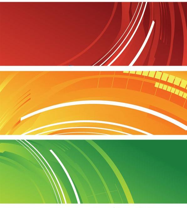 5种颜色banner网页背景素材矢量图