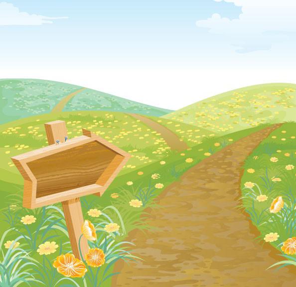 春天的小路草地野花路牌素材矢量图