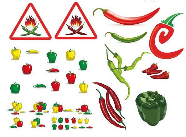 各式各样的辣椒素材矢量图