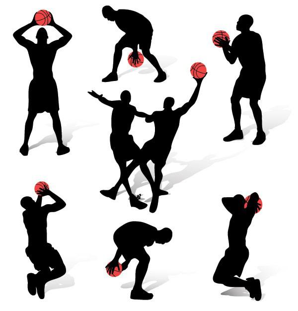 篮球人物动作剪影矢量图免费素材下载