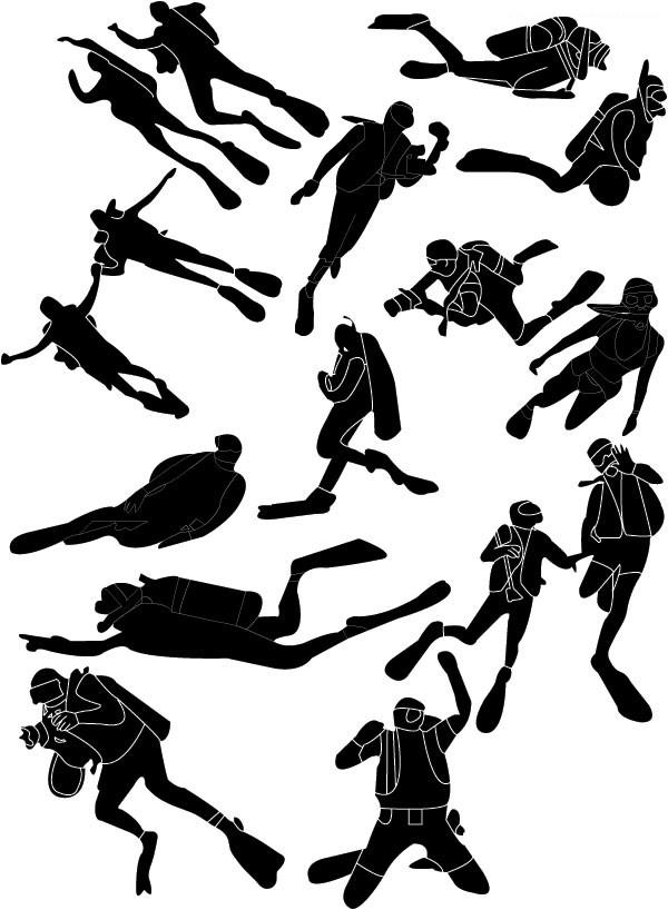 潜水运动人物剪影矢量图