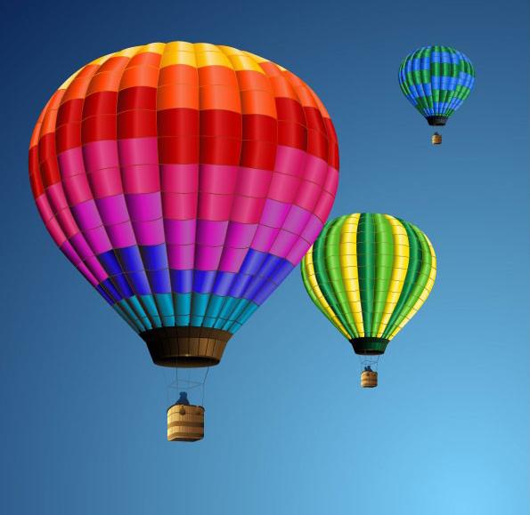 彩色热气球矢量图