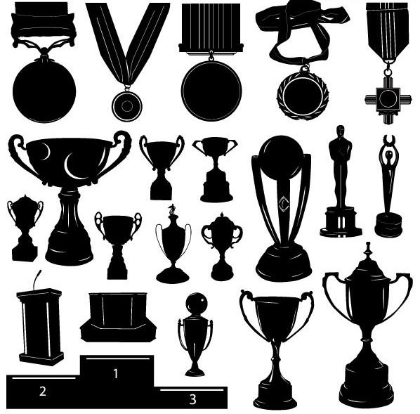 各种奖杯与奖牌剪影矢量图
