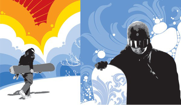 滑雪运动人物素材矢量图