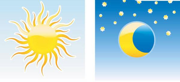 卡通星星月亮和太阳