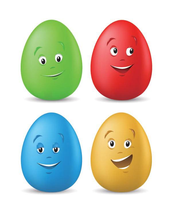 含jpg预览图,矢量卡通,鸡蛋,彩色鸡蛋,眼睛,嘴巴,可爱,笑,矢量素材.