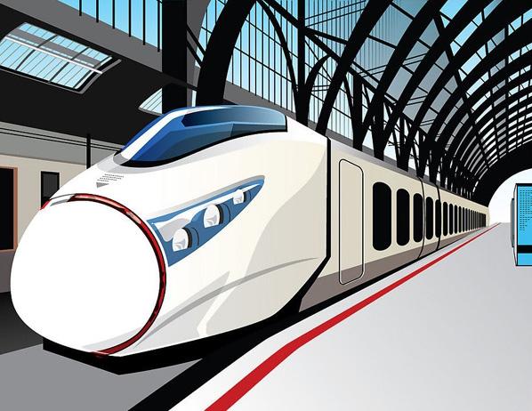 和谐号高速动力火车卡通风格图片