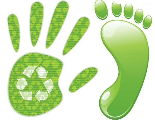 绿色手掌和脚丫矢量素材下载