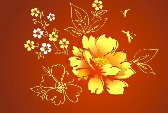 花卉,花纹,牡丹花,金色,叶子,蜻蜓,工笔画,矢量图        素材下载