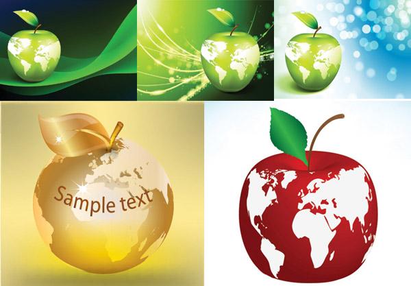 环保主题苹果与地球矢量图素材下载免费素材下载