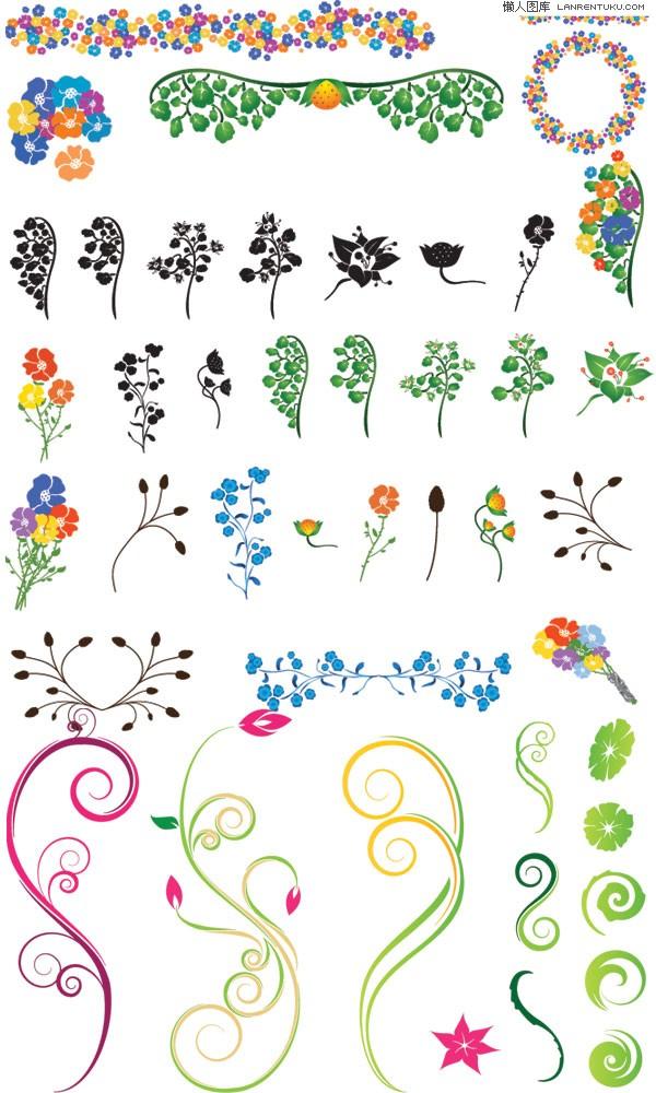 彩色与黑白植物元素花边花纹矢量图素材下载免费素材下载