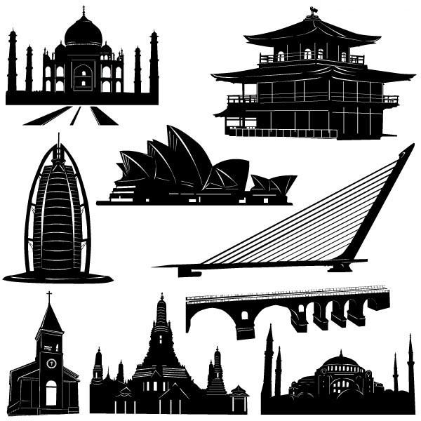世界各地著名建筑矢量图