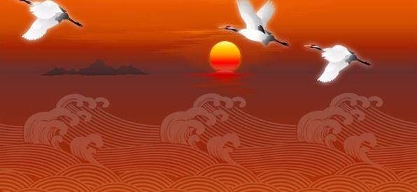 中国传统白鹤祥云图矢量图