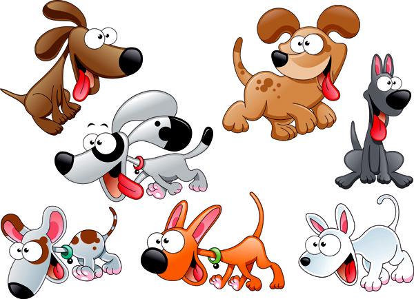 可爱卡通小狗矢量图图片