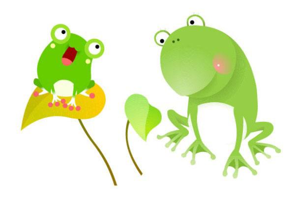 可爱卡通绿色青蛙矢量图
