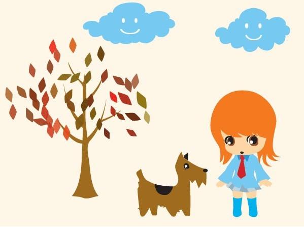 可爱小女孩和狗狗卡通矢量图