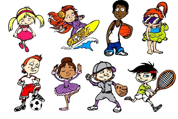 可爱卡通运动儿童矢量图