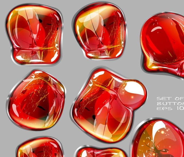 矢量素材-华丽红色琥珀