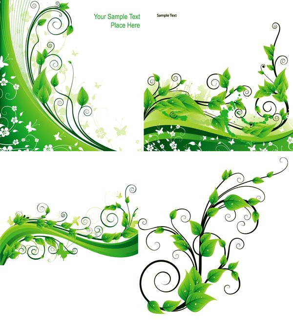 绿色藤蔓植物动感绿叶矢量图