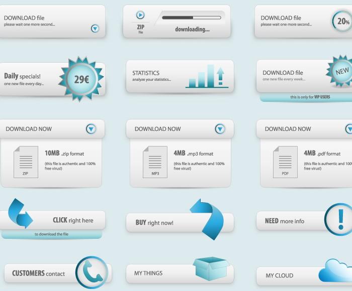 网页设计的蓝色元素矢量素材免费素材下载