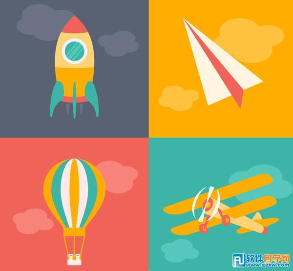 4款卡通火箭纸飞机热气球飞机矢量图