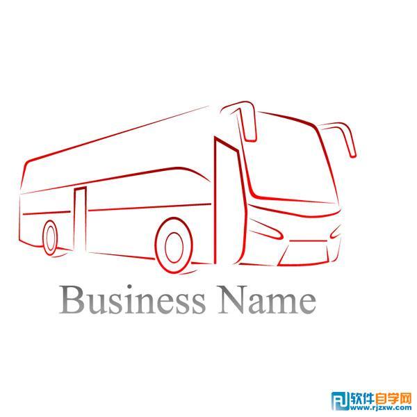 巴士简洁线条矢量图