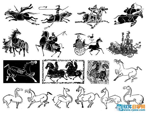 中国古代车马矢量图