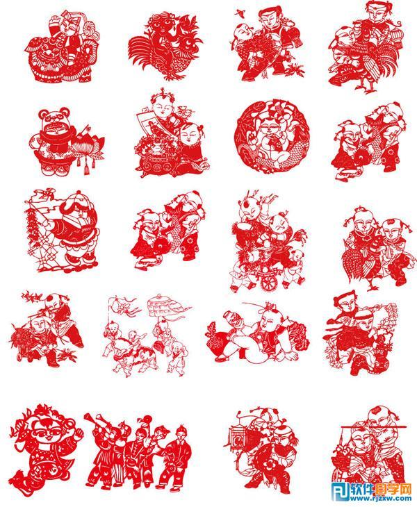 次 素材简介: 舞狮子,鸡,莲花,福娃娃,剪纸,艺术,民间艺术,纸艺,矢量