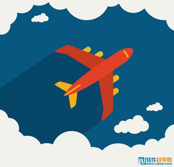 翱翔云朵上的飞机矢量图免费素材下载